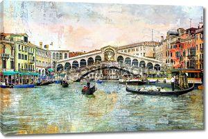 Риальто мост - венецианские картины - иллюстрации в стиле живописи
