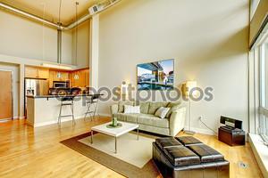 Современные лофт квартиры интерьер гостиной с кухней.