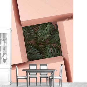 Пальмовые листья в абстрактном окне