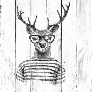 Рисованный одетый олень