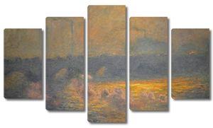Моне Клод. Мост Ватерлоо, эффект солнечного света с дымом, 1903
