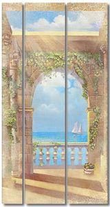 Красивый вид из окна на море