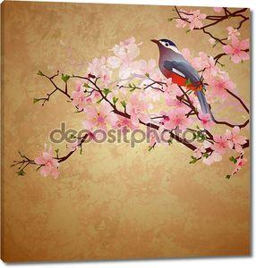 Гранж иллюстрация с птицей на цветущего дерева бранч