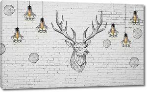 Настенный рисунок оленя с фонарями
