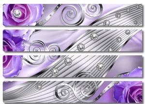 Узоры с фиолетовыми розами