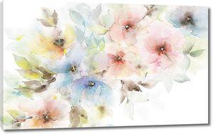 Разноцветные цветы акварелью