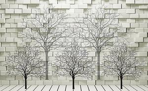Деревья у кирпичной стены