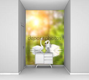 Два белых лебедя в солнечный день
