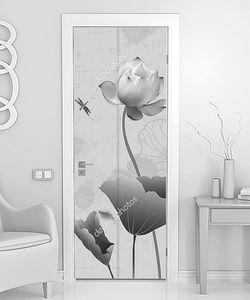 Черно-белые лотосы со стрекозой