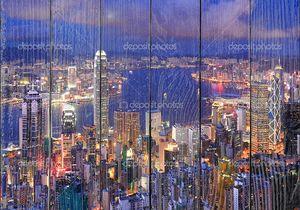 Город Гонконг ночью