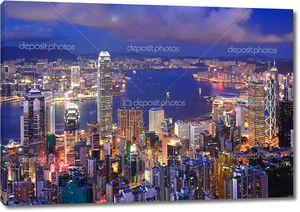 Гонконг ночью, вид с птичьего полета