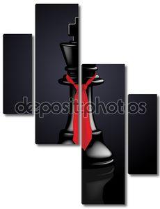 Шахматы черный король с галстуком - векторные иллюстрации