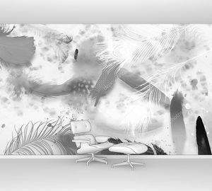 Абстрактная монохромная иллюстрация, большие белые, серые и черные перья