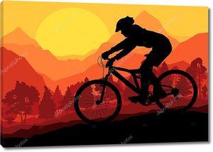 наездники горного велосипеда в диком лесном горном пейзаже природы ve