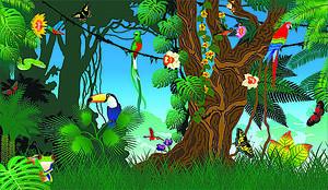 Яркий лес с птицами