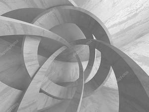 Абстрактный геометрический бетонный фон архитектуры. Трехмерная иллюстрация