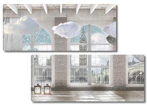 Вид Лондона из окна помещения в стиле лофт
