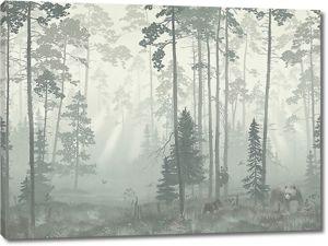 Медведи в туманном лесу