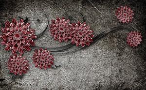 Красные георгины на штукатурке