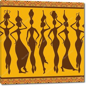 Африканские женщины с кувшинами на головах