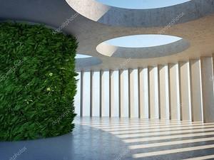 Архитектурный дизайн современного бетонного зала