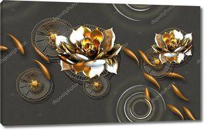 Абстрактные золотые рыбки, золотые водяные лилии