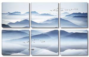 Стаи птиц в горах