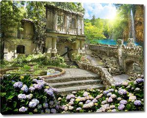 Таинственный сад с прекрасной архитектурой