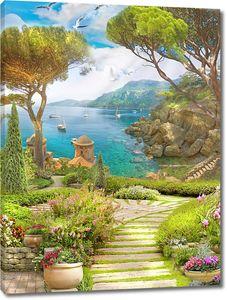 Дорога через сад к морскому заливу