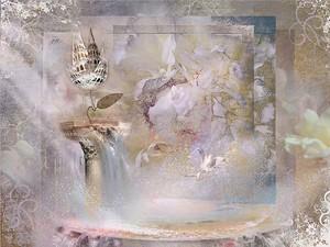 Абстрактная фреска с железным цветком