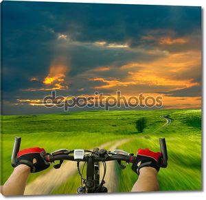 Человек с велосипедов Верховая езда проселочной дороге