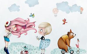 Две девочки со зверушками