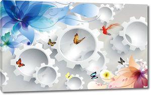Шестерни, красочные бабочки,  цветы