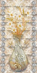 Цветы в металлической вазочке