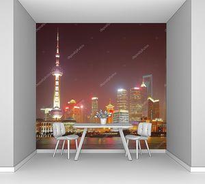 Ночной Шанхай в ярких огнях
