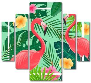 Фламинго на  тропическом фоне