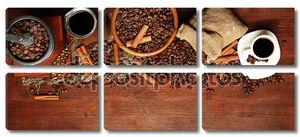 кофе в зернах, металлических турок и Мельница кофе на деревянный фон с копией пространства