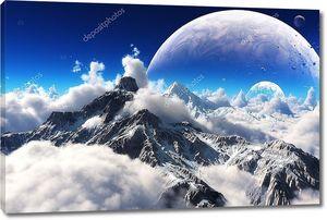 Небесный вид ограничен горами и чужой планетой