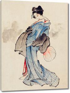 Женщина в кимоно с клетчатым рисунком
