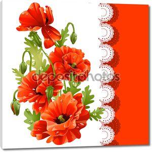 Красивая открытка с красными маками