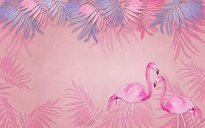 Фламинго с розовыми листьями