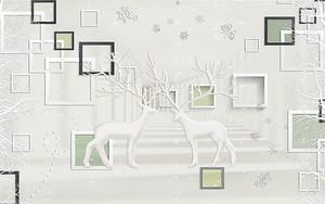 Белые олени с рамками