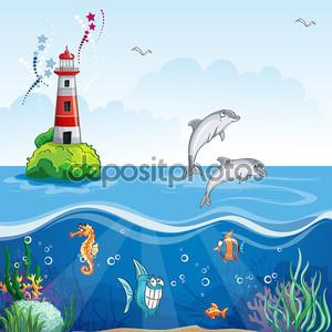 Маяк и море дельфины