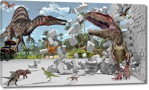 Динозавры с разрушенной стеной