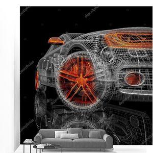 3D модель автомобиля на черном фоне.