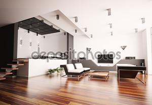 Современная квартира интерьер 3d