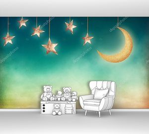 Ночь со звездами и луной