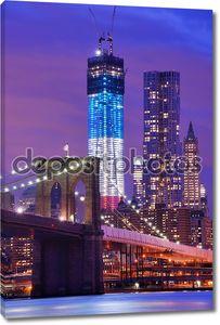 Мост в ночном Нью-Йорке