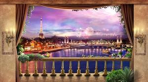 Вид с террасы на ночной Париж