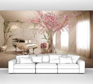 Комната с белым роялем и цветущей сакурой